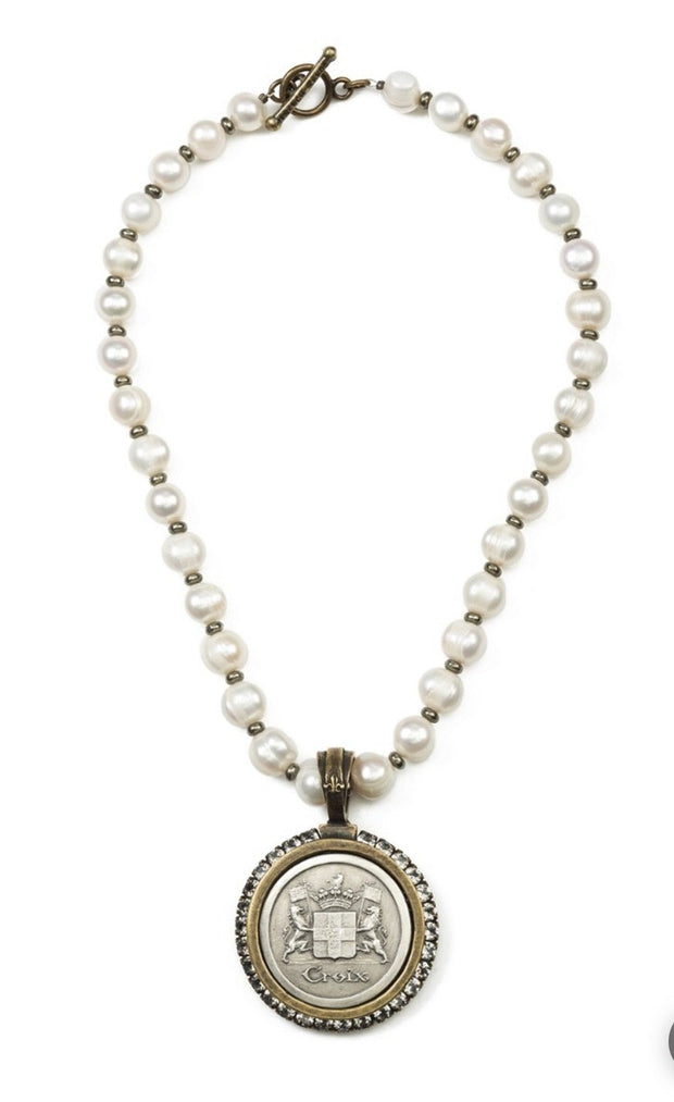 French Kande PEARLS AND PYRITE WITH CROIX MEDALLION