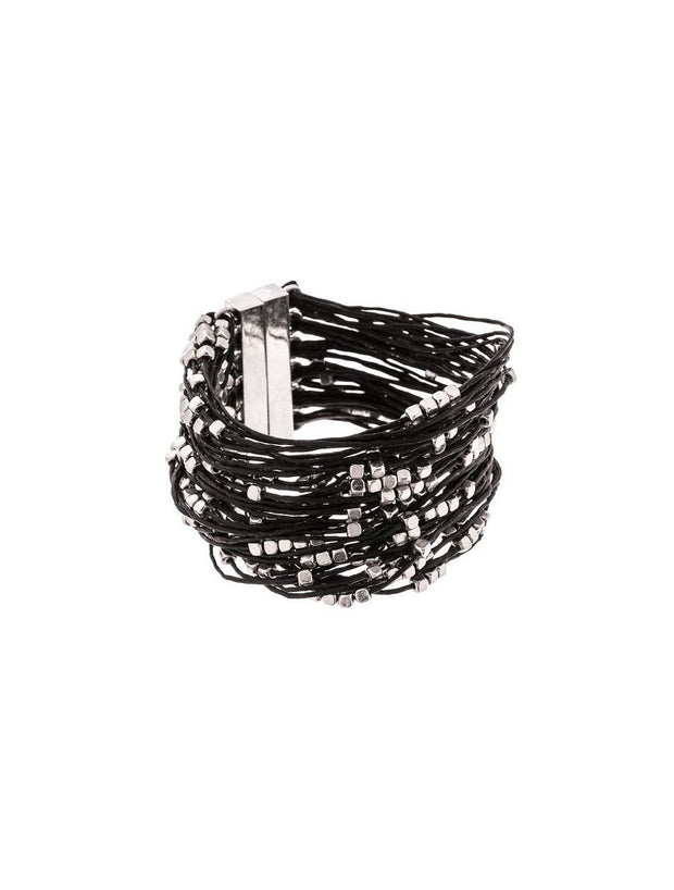 Trades By Haim Shahar- Silver Beaded Leather Bracelet