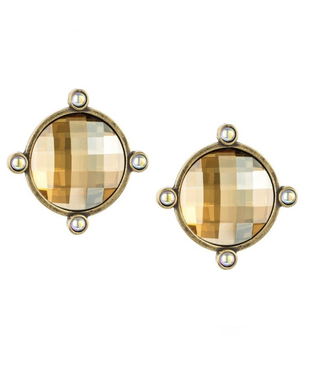 French Kande GOLDEN SHADOW SWAROVSKI OREILLE EARRINGS