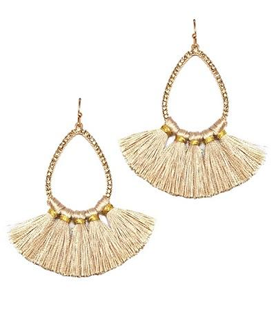 Stella Teardrop Bead & Tassel Earrings