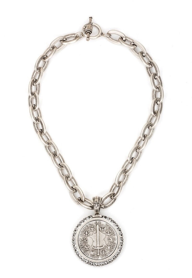 French Kande Lourdes chain, Swarovski bezel Du Terre Medallion Necklace