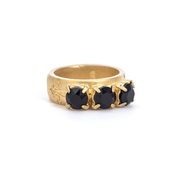 French Kande JET 14K GOLD TRIPLE SWAROVSKI RING