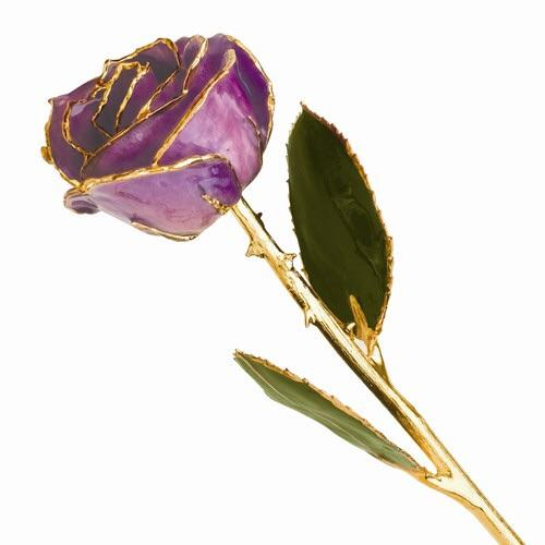 24 kt Gold Dipped Lilac Rose