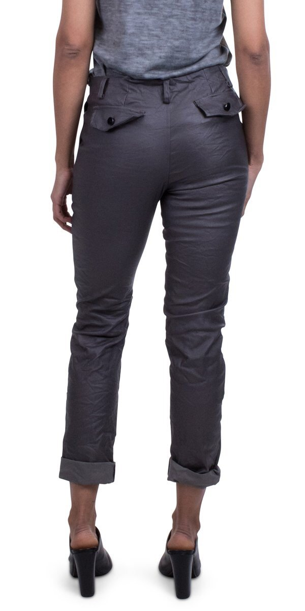 gig moda faux leather pants with 2 zip front pockets