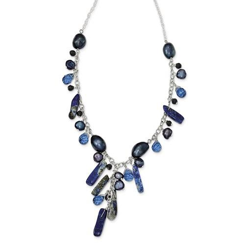 Sterling Silver Blue Sandstone/Dark Blue FW Cultured Pearl Necklace