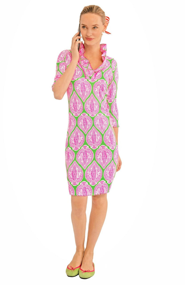 Gretchen Scott Indian Summer Ruffleneck Dress Green Pink