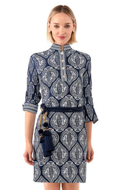 Gretchen Scott Mandarin Indian Summer Dress Navy White
