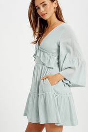 Date in Paris Ruffle Bell Sleeve Dress