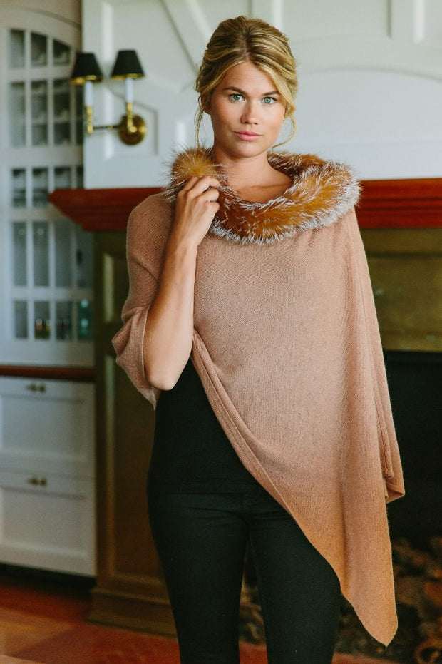 Alashan Cashmere LUXE Windchill Fox Trim Topper