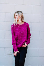 Fashionably Late Magenta Pullover Sweater
