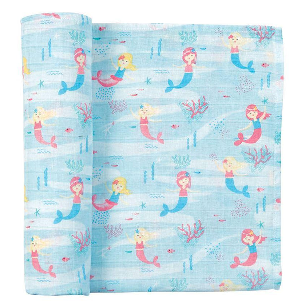 Mud Pie Mermaid Muslin Swaddle Blanket
