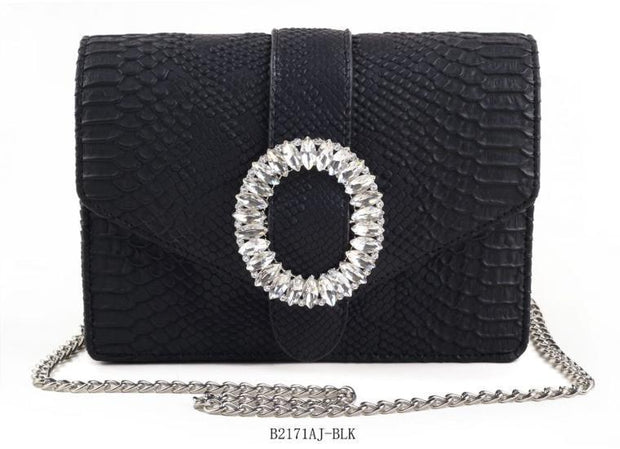 A Touch of Style - Snake Skin Circle Closure Handbag