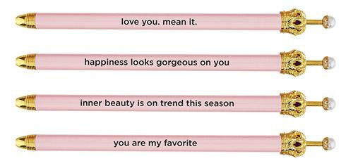 Sassy Sayings Light Pink Pearl Crown Pens