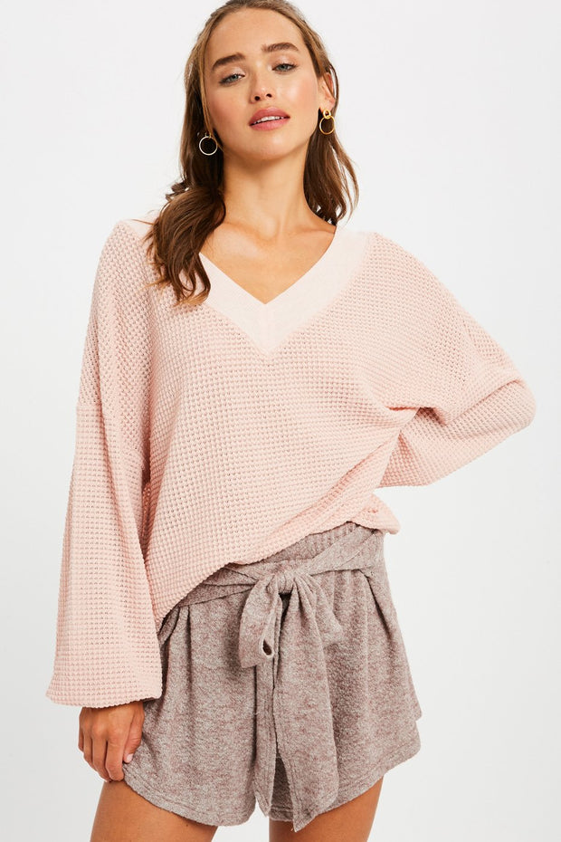 Mimosa on a Monday Waffle-Textured Top in Pink