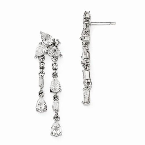 Cheryl M Sterling Silver CZ Post Dangle Earrings