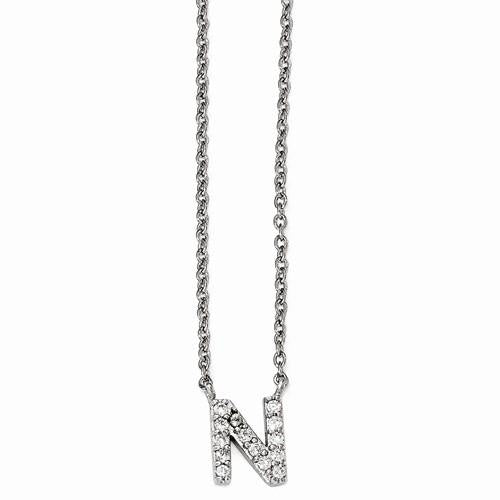 Cheryl M Sterling Silver CZ Letter Necklace