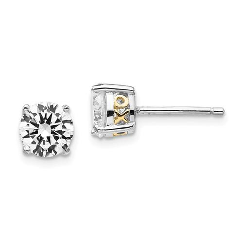 Cheryl M Sterling Silver And Gold-Plated XO 6.5mm CZ Stud Earrings