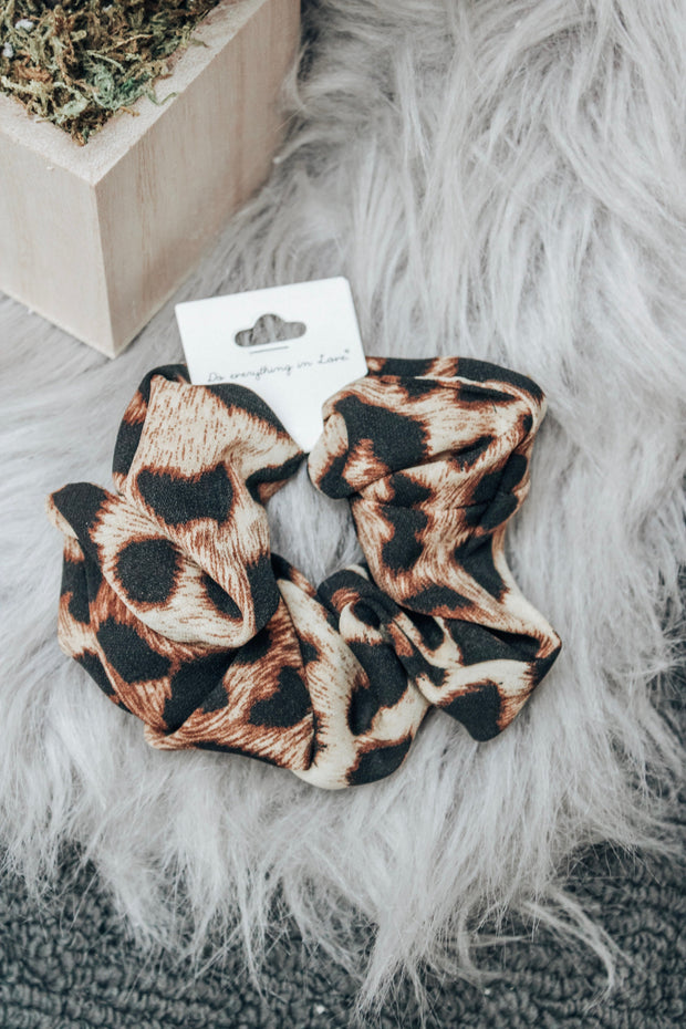 Tan Leopard Print Scrunchie