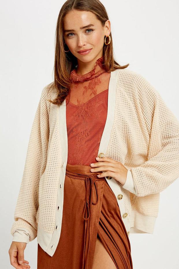 Stealing Beauty Waffle Knitted Button Down Cardigan