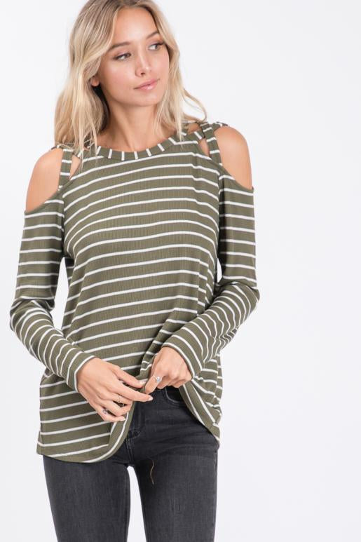 Better with Stripes Criss Cross Top in Olive