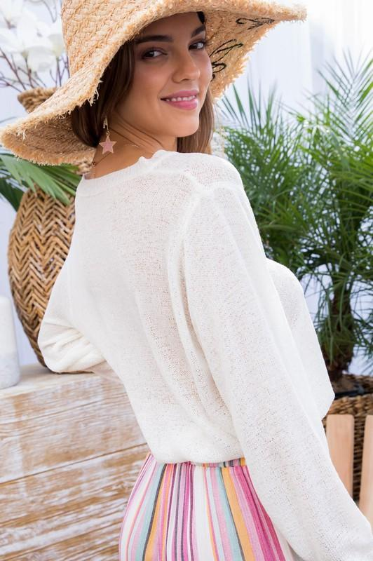 Drawstring Cropped Sweater