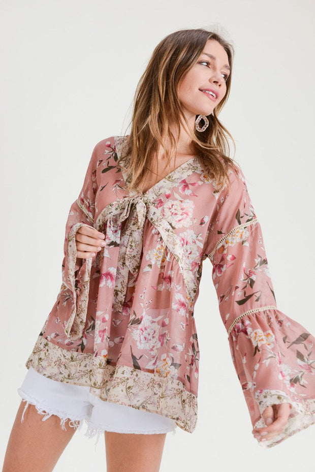 Bloom in Winter Mixed Print Top
