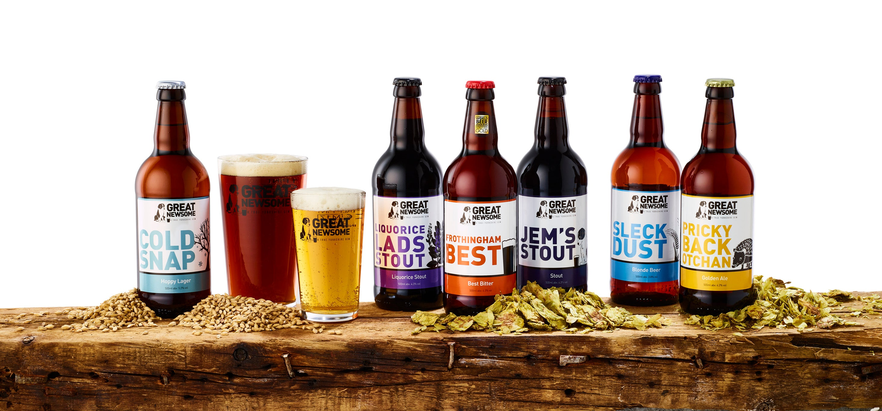 Selection of beers from the Great Newsome Brewery
