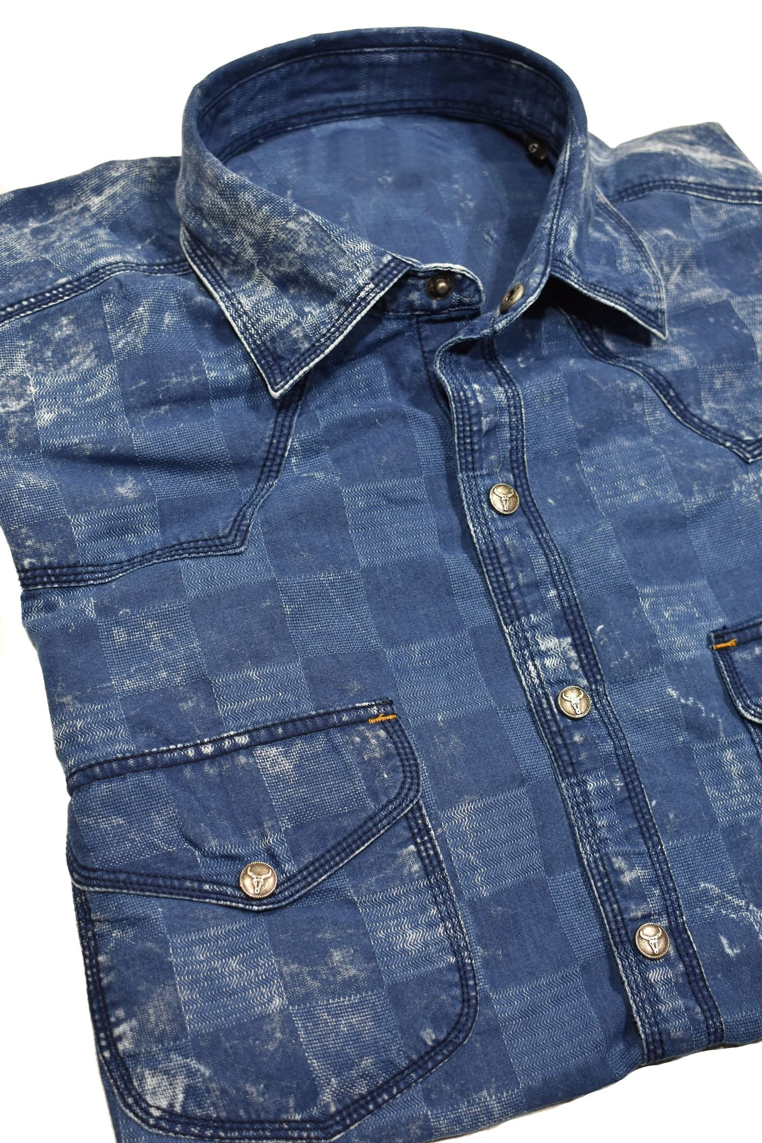RJ010W Box Indigo Washed Shirt - Marcello Sport