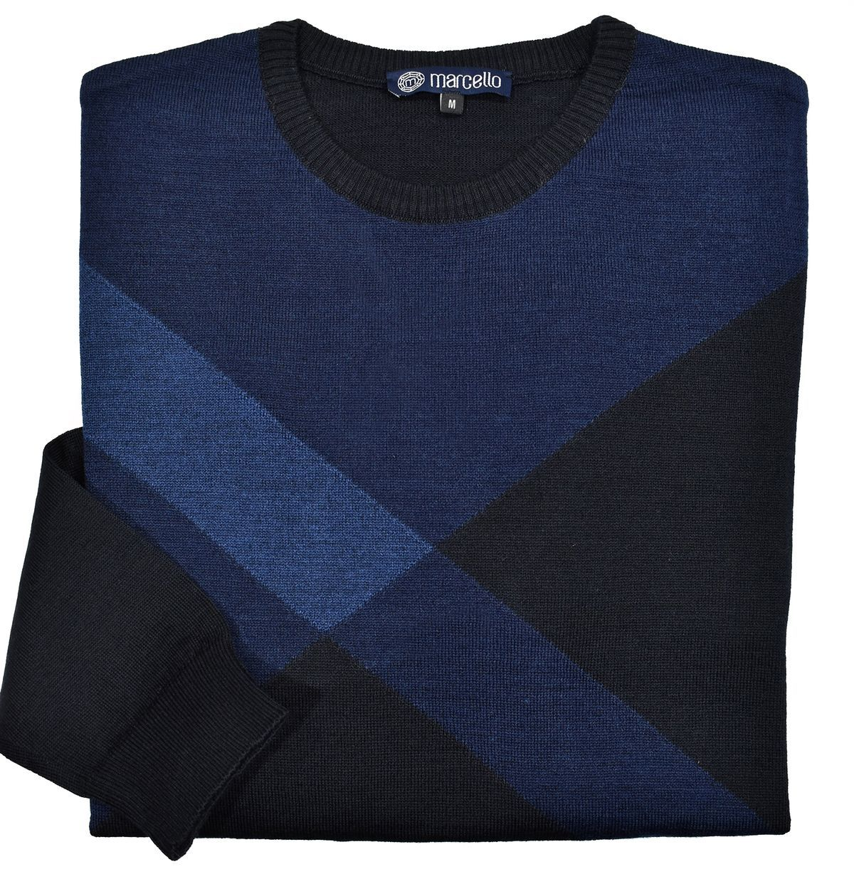 731 Indigo Diagonal Color Block Sweater - Marcello Sport