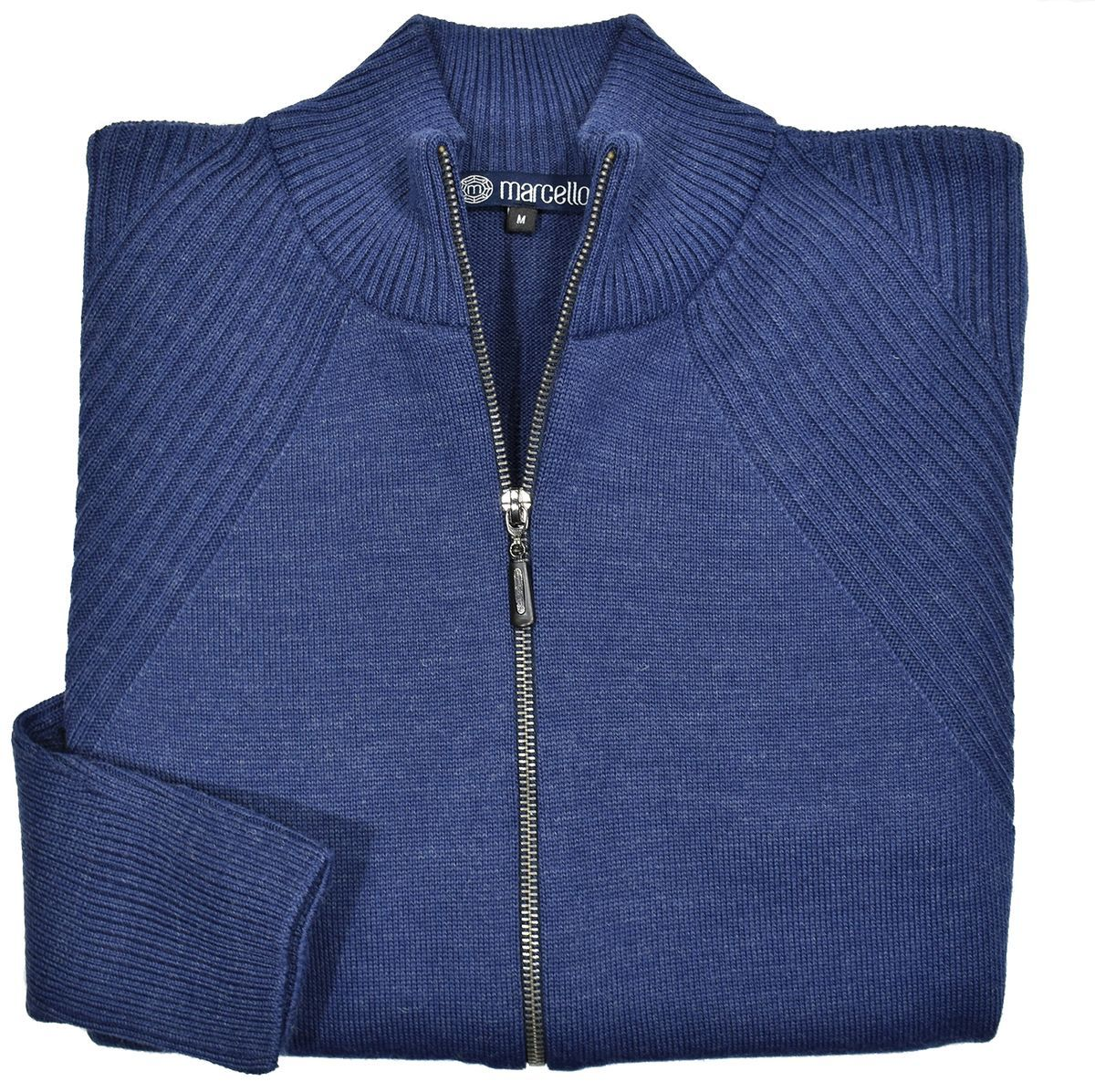 741 Denim Jacquard Zip Cardigan - Marcello Sport