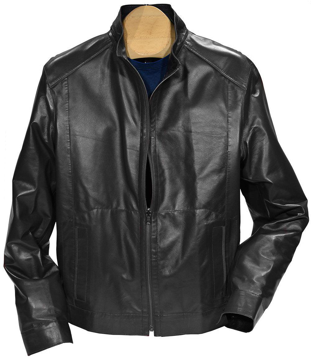 Our newest model is outstanding!  The exclusive light weight and soft nappa leather is perfect and coupled with a water resistant microfiber creates a must have jacket.    Leather to Microfiber Reversible Jacket  Smooth exclusive nappa leather outer. Reversible to microfiber, which is trimmed in leather. Straight cut is a fit perfect for a slender or moderate build. Traditional side slash pockets. Colors are black, indigo and dark red.  All reverse to navy microfiber. Imported.