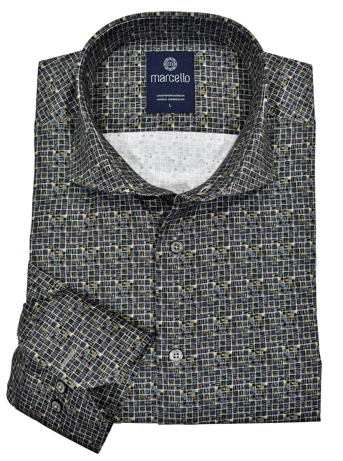 W197 Square Mosaic Men's Shirt - Marcello Sport
