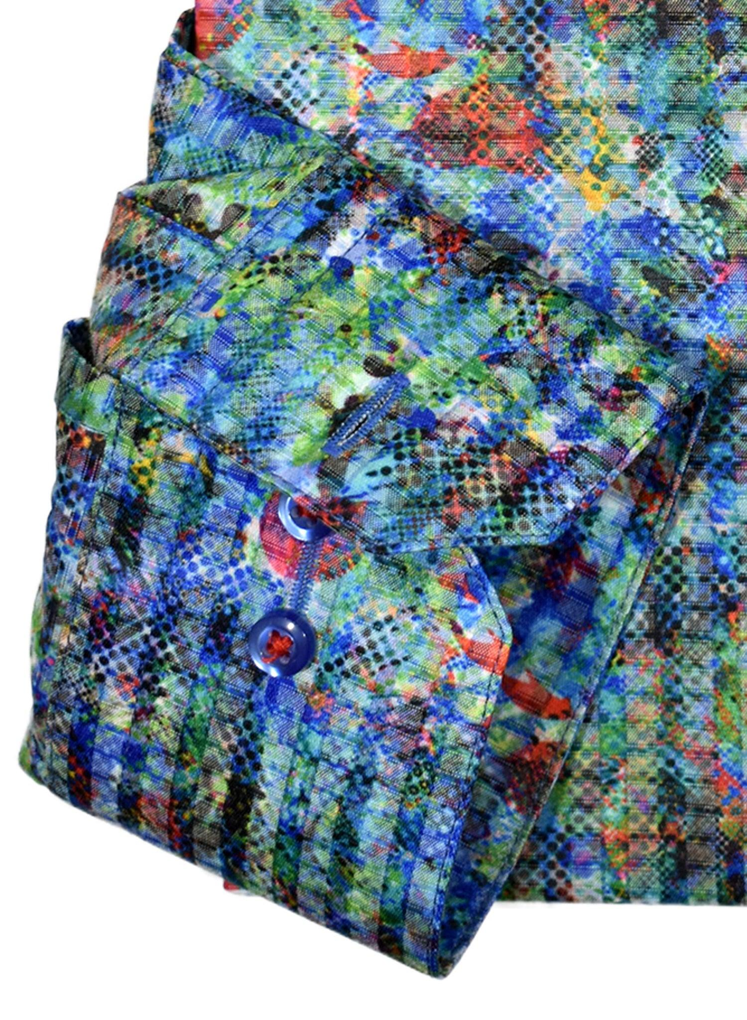 The strong mix of colors in a geometric print style is further enhanced with the shirt grid texture. The soft cotton microfiber fabric is both easy care and has a superior finish. Modern fit. Rojas Barns Multi Shirt  Multiple abstract colors work well together. An updated fashion look pairs well with any bottoms. Soft cotton fabric with microfiber for easy care. Medium spread collar. Modern fit.