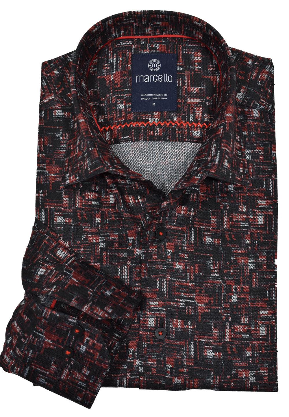 Following up on one of our most popular sport shirts, the rich, neat geometric pattern mixing black and red looks spectacular for any event. Accent detailing, a medium spread collar and cotton microfiber easy care fabric. Modern fit. Frais Shaded Shirt  Accent stitching brings out color. Soft cotton fabric with microfiber for easy care. Medium spread collar. Modern fit.