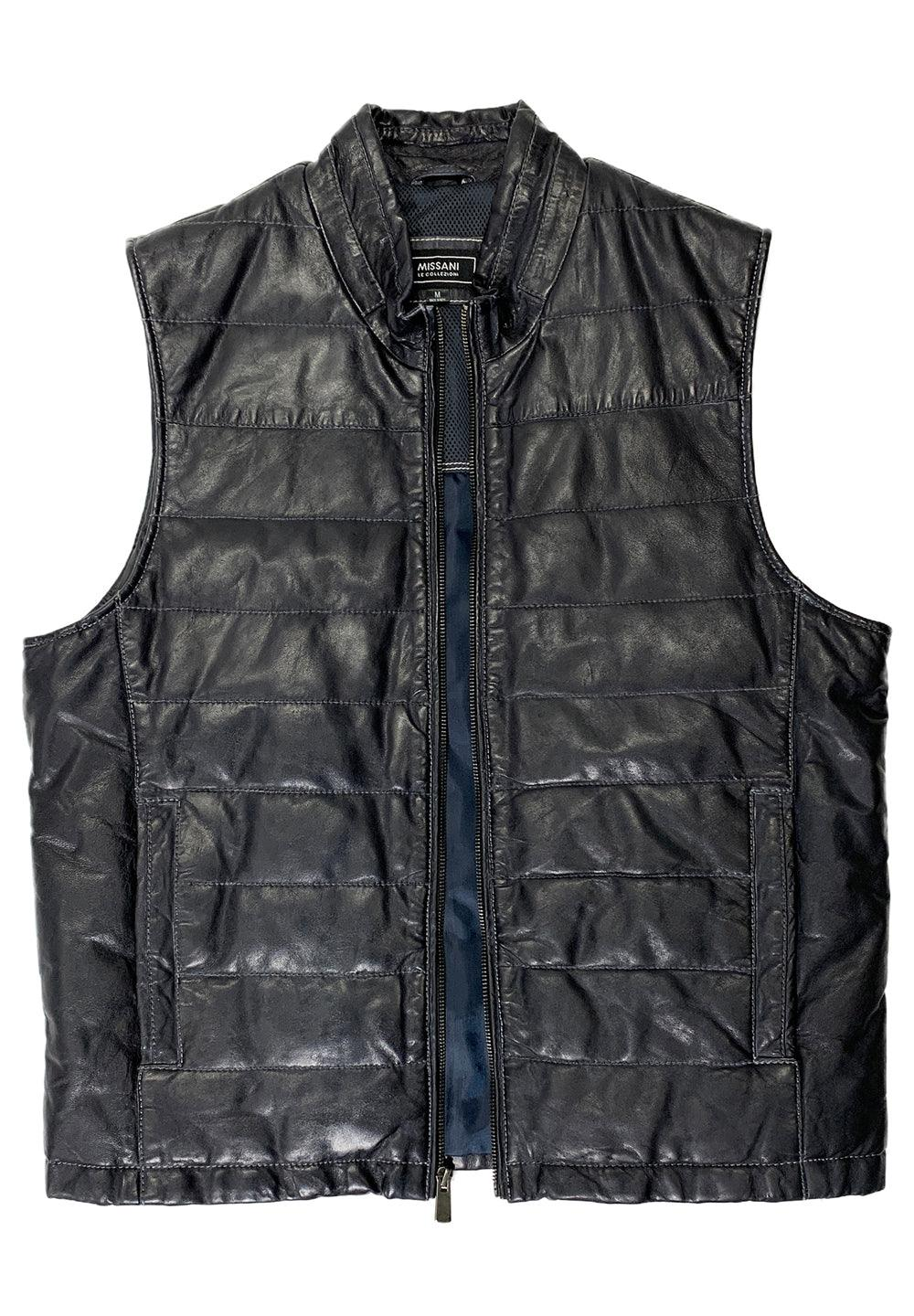 The perfect style for those cool days or nights that require a little extra warmth. The soft, medium weight leather is stitched to add style and an updated cool look. Imported, modern fit and a medium weight.  Cali Style Leather Vest  Medium weight premium leather. Slightly distressed look to the leather. Full zip and mock neck style. Horizontal stitch for style. Style and warmth. Modern Fit.