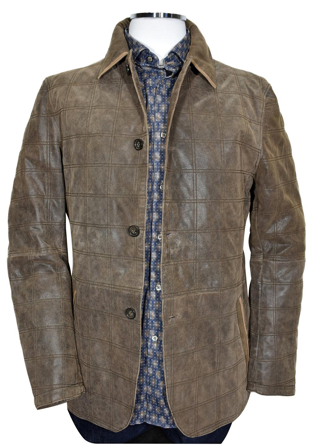 Outstanding, unique style in this sueded leather car coat with button front closure and unique plaid stitching. Moderate weight, classic side slash pockets and thigh length.  Suede Leather Car Coat  Full button front style. Plaid cross texture stitching adds style. Moderate weight for a thinner jacket. Perfect for Fall for warmth and layering. Thigh length. Polo style collar with contrast edge detail. Modern Fit.