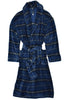 Wrap yourself in this plush robe and you'll never want to take it off. Super soft and comfy it is an ideal gift for him or her!   Traditional yet updated fashion plaid pattern.  Indigo Plaid Plush Robe  Plush microfiber is super soft and easy care. Medium weight. Tie belt front. Classic front patch pockets. Small/Medium or Large/X-Large.