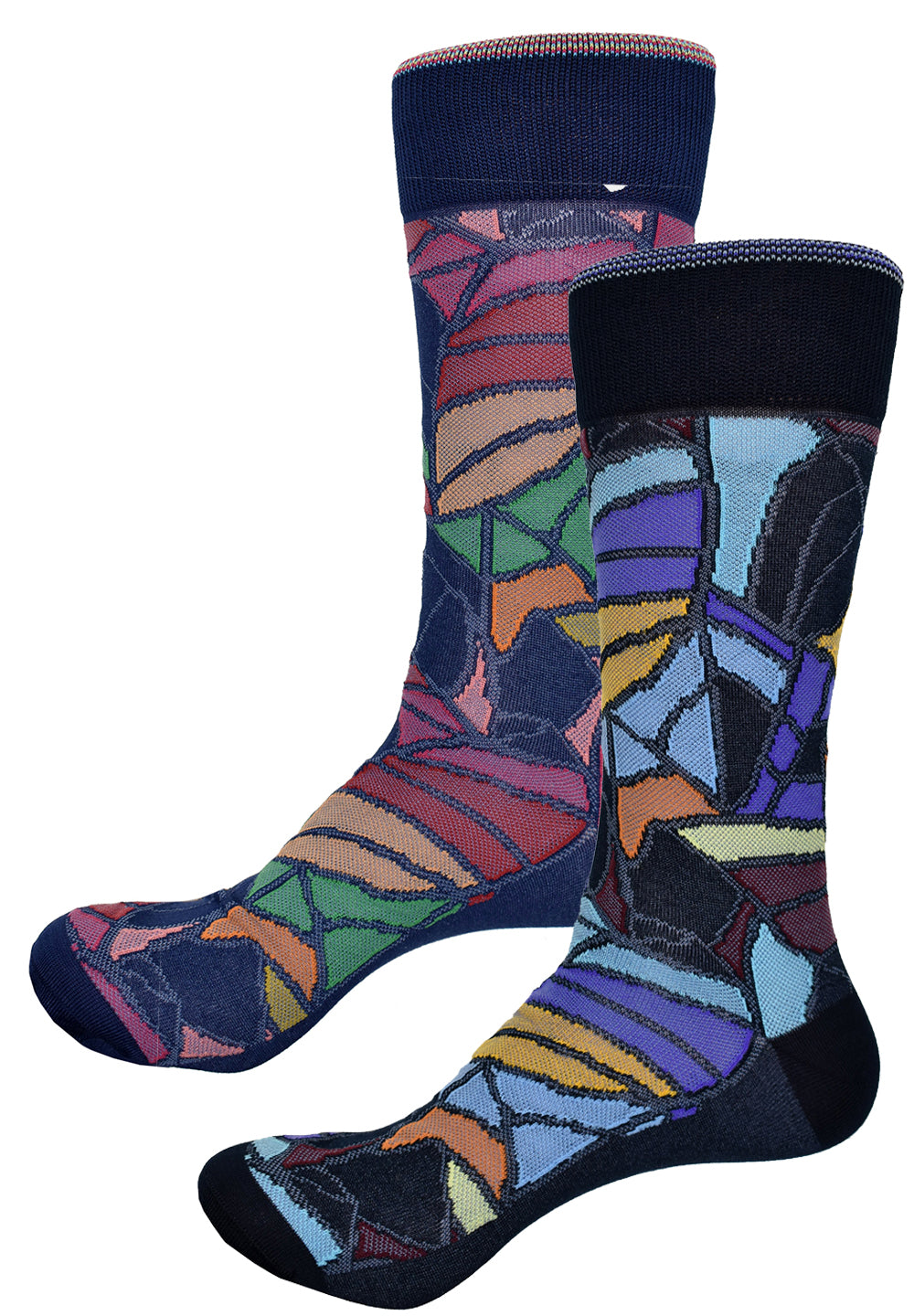 Set your image apart and make a statement with these fantastic socks.  Fine mercerized cotton with nylon blend for lightweight comfort.  Stained Glass Mosaic Socks - Red or Navy  Truly unique fashion in rich colors. Soft mercerized cotton with nylon blend for comfort. One size, fits 9-12.