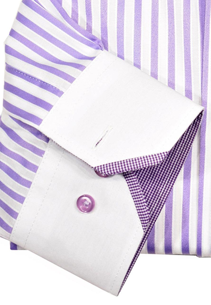 WS02l Marcello Sport Accent Lilac Mens Dress Shirt - Sport Shirt