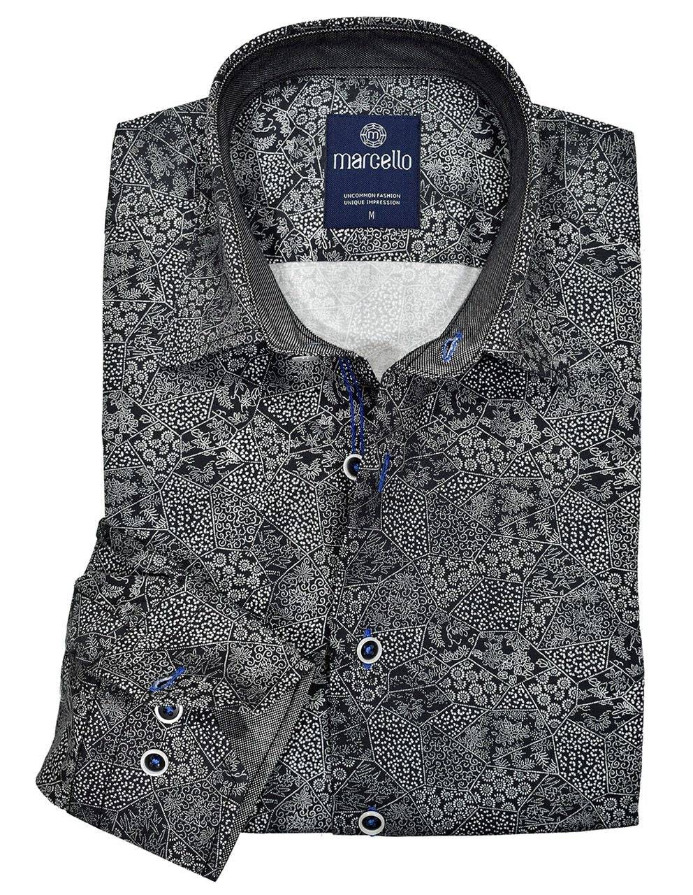 W1025 Midnight Puzzle Shirt - Marcello Sport