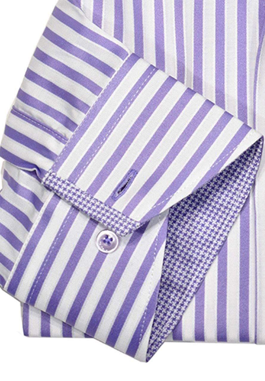 WS00-l Marcello Sport Business Casual Striped Shirt Lilac - Marcello Sport