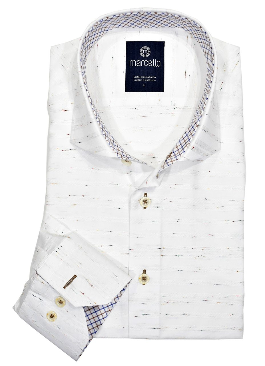 W1078 No-Peh Shadow Stripe Cotton Shirt - Marcello Sport