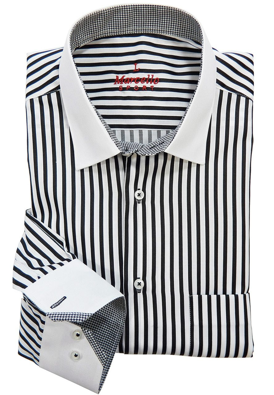WS02b Marcello Sport Accent Black Mens Dress Shirt - Sport Shirt - Marcello Sport