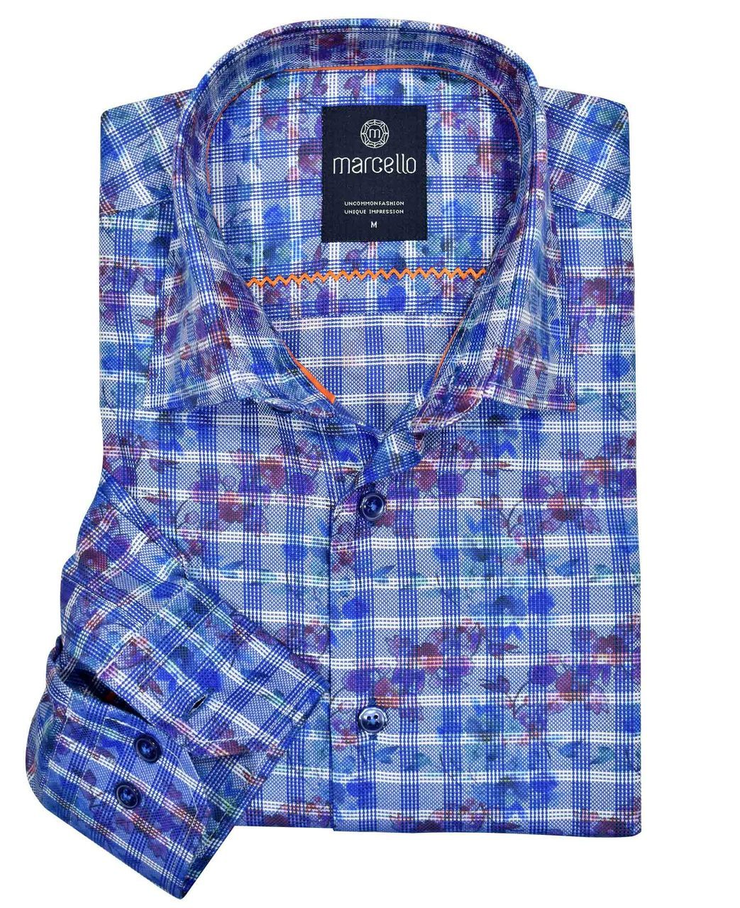 W1086 Royal Plaid Over Print - Marcello Sport
