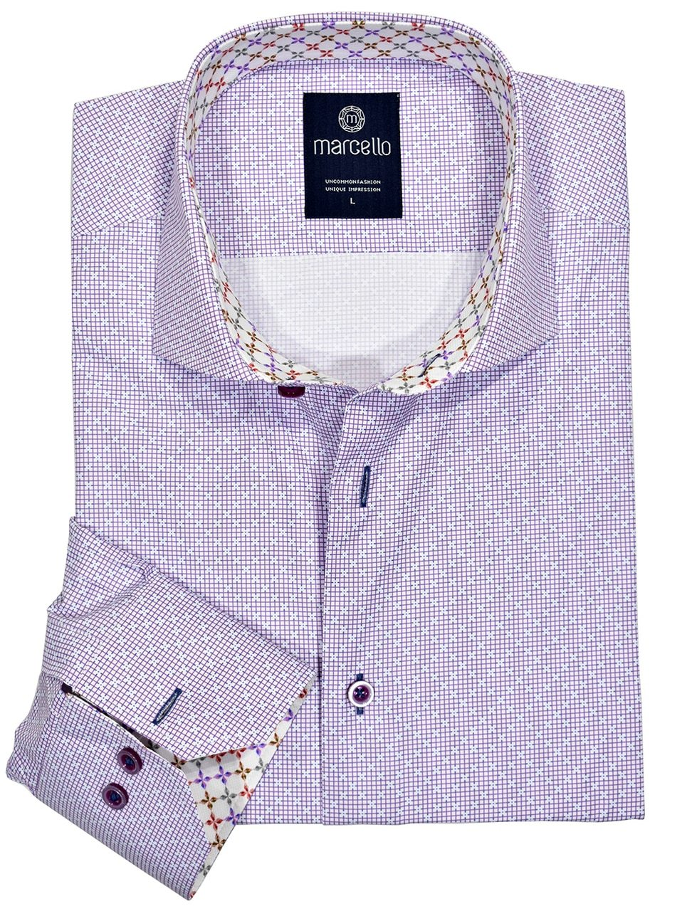 W1081 Lilac Neat Shirt - Marcello Sport