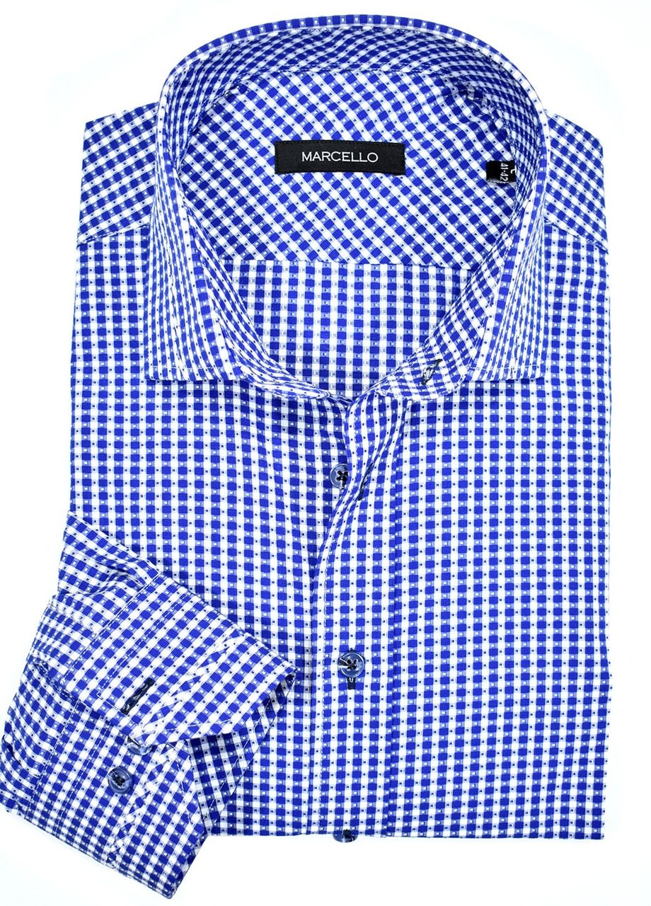 W802 Unica Designed Diamond Check Shirt - Marcello Sport
