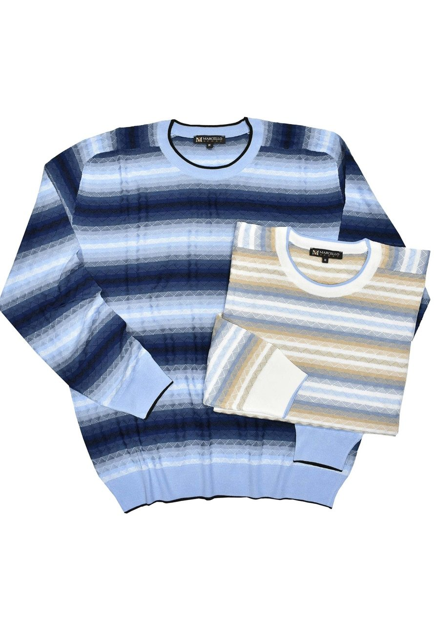 669 Cotton Jacquard Stripe Sweater - Marcello Sport