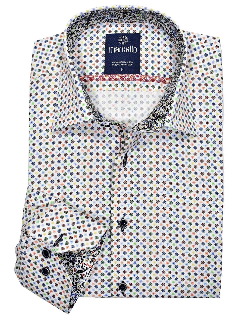 W1008 Rainbow Medallion Cotton Shirt - Marcello Sport