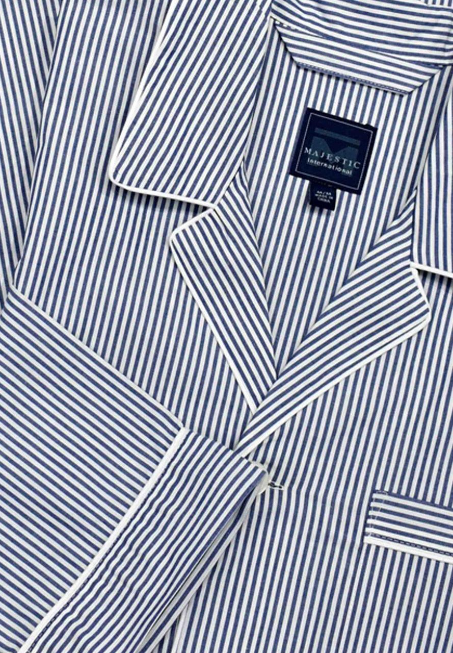 Classic navy blue stripe on soft cotton fabric. Long sleeve top with a chest pocket, draw string pant with open leg. Classic fit.  Croix Comfort Pajamas  100% cotton machine washable. Accent white edge piping. Classic style is always easy and in fashion. Draw string pant for a relaxed feel. Shirt top with classic chest pocket.