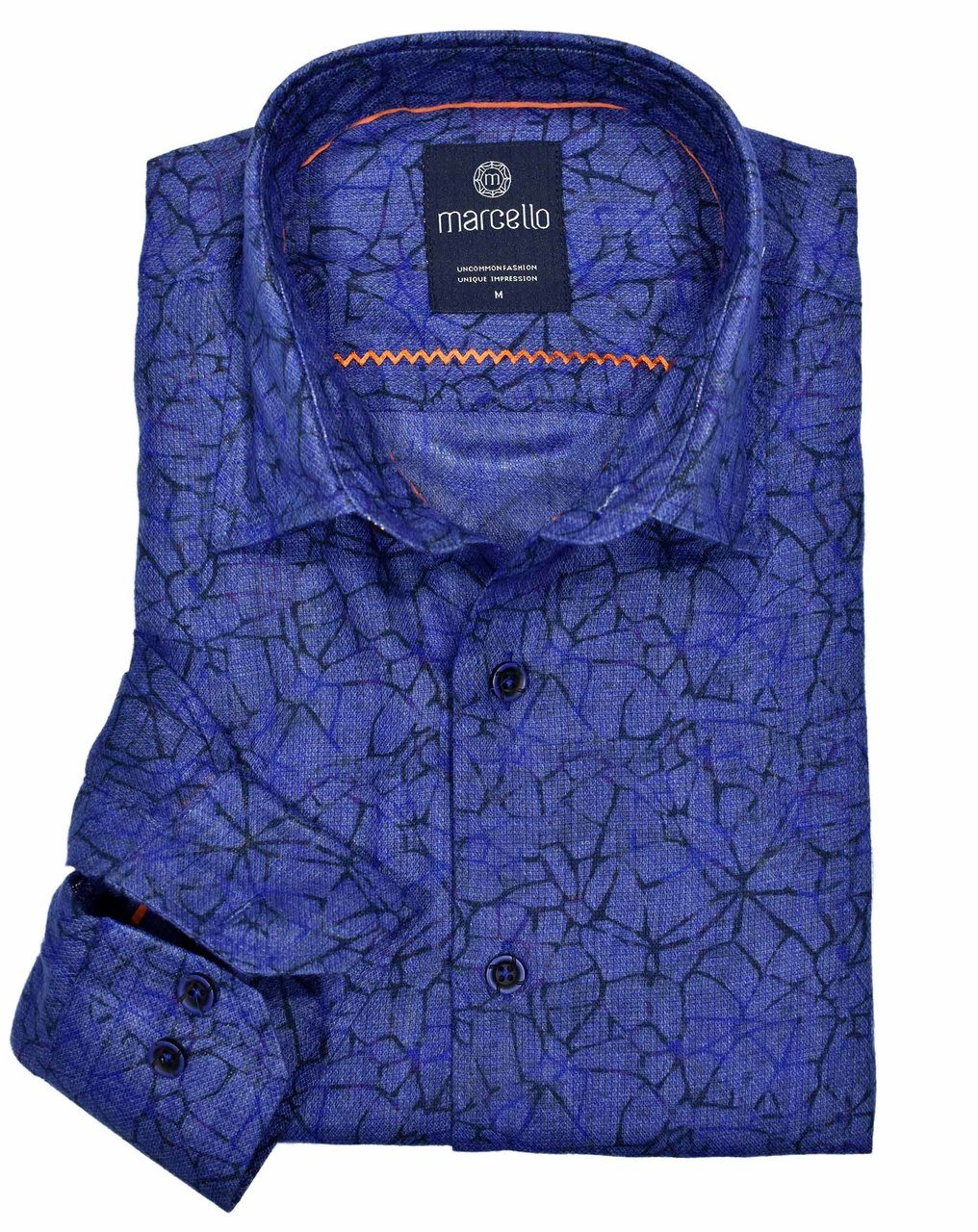 W1087 Fractured Print Shirt - Marcello Sport